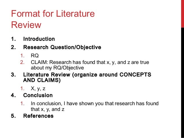 format for a literature review in apa style