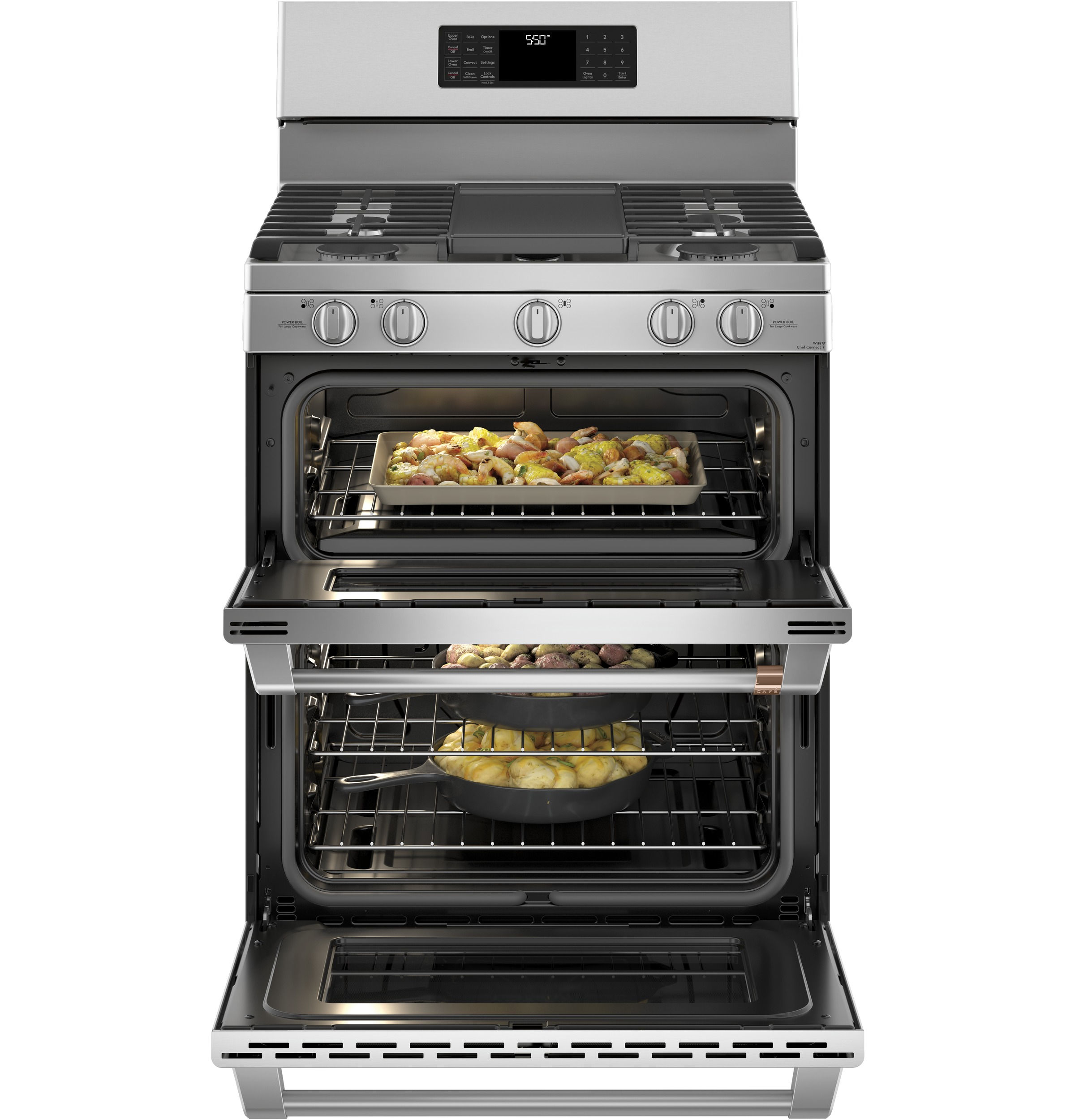 ge cafe double oven range reviews